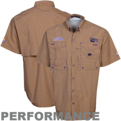 Columbia lsu tigers purple gold plaid super bonehead for Embroidered columbia fishing shirts