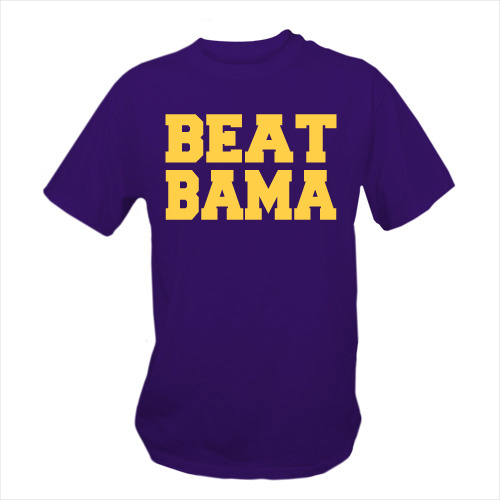 Purple and Gold LSU Tigers - BEAT BAMA T-Shirt